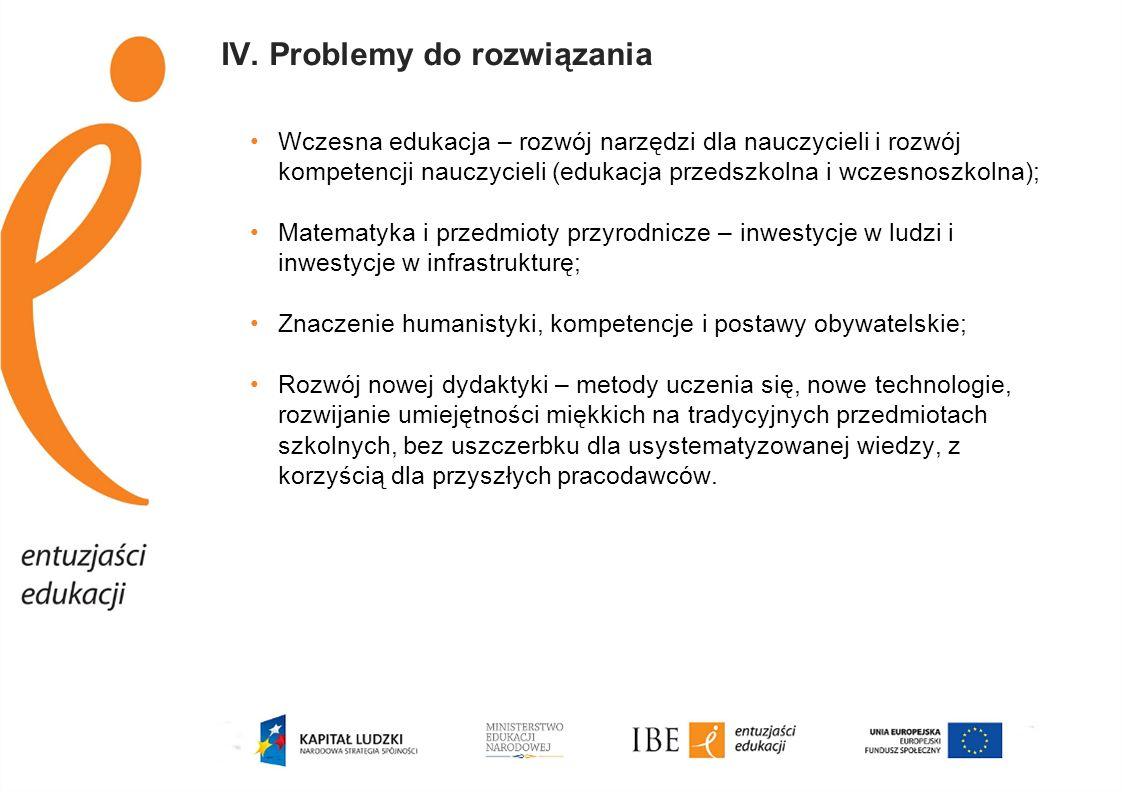 IV. Problemy do rozwiązania Wczesna edukacja – rozwój narzędzi dla nauczycieli i rozwój kompetencji nauczycieli (edukacja przedszkolna i wczesnoszkoln