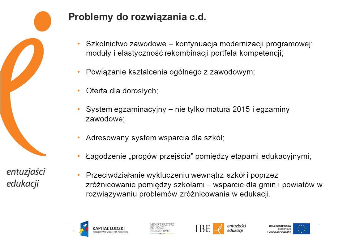 Problemy do rozwiązania c.d. Szkolnictwo zawodowe – kontynuacja modernizacji programowej: moduły i elastyczność rekombinacji portfela kompetencji; Pow