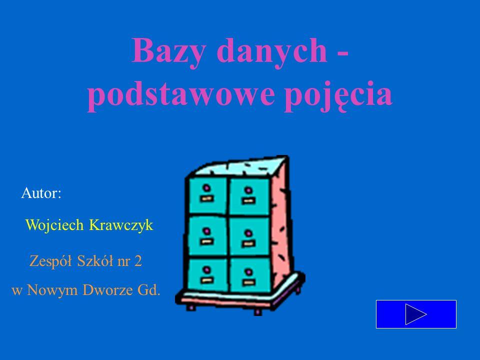 Bazy danych - podstawowe pojęcia Autor: Wojciech Krawczyk Zespół Szkół nr 2 w Nowym Dworze Gd.