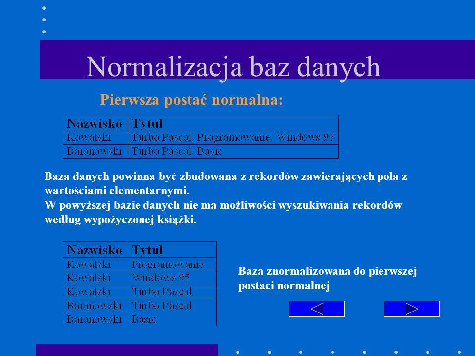 Normalizacja baz danych Pierwsza postać normalna: Baza danych powinna być zbudowana z rekordów zawierających pola z wartościami elementarnymi. W powyż