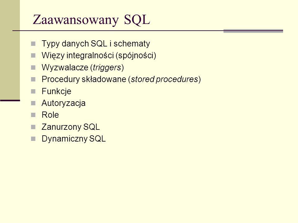 Zaawansowany SQL Typy danych SQL i schematy Więzy integralności (spójności) Wyzwalacze (triggers) Procedury składowane (stored procedures) Funkcje Aut