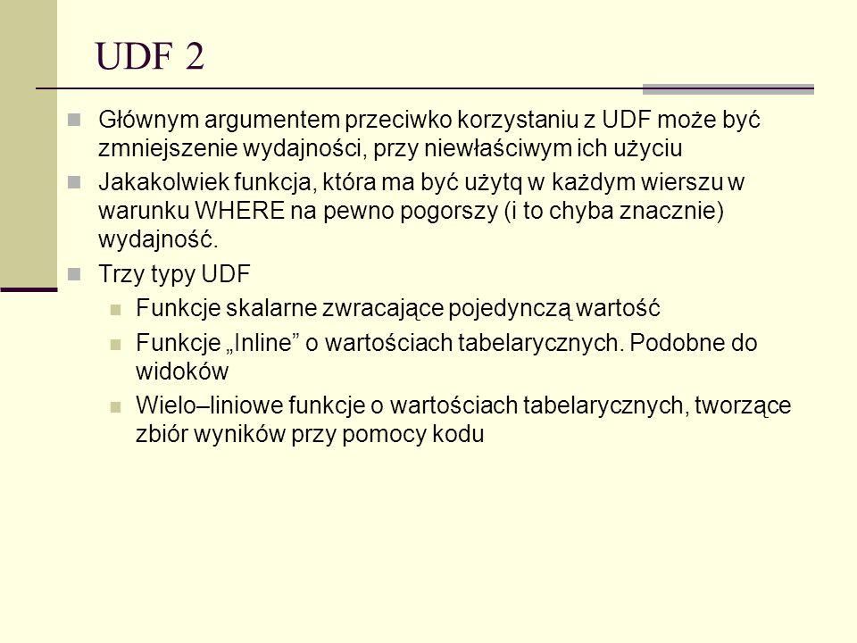 UDF 2 Głównym argumentem przeciwko korzystaniu z UDF może być zmniejszenie wydajności, przy niewłaściwym ich użyciu Jakakolwiek funkcja, która ma być