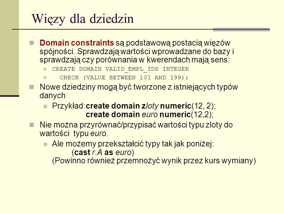 Więzy dla dziedzin Domain constraints są podstawową postacią więzów spójności. Sprawdzają wartości wprowadzane do bazy i sprawdzają czy porównania w k