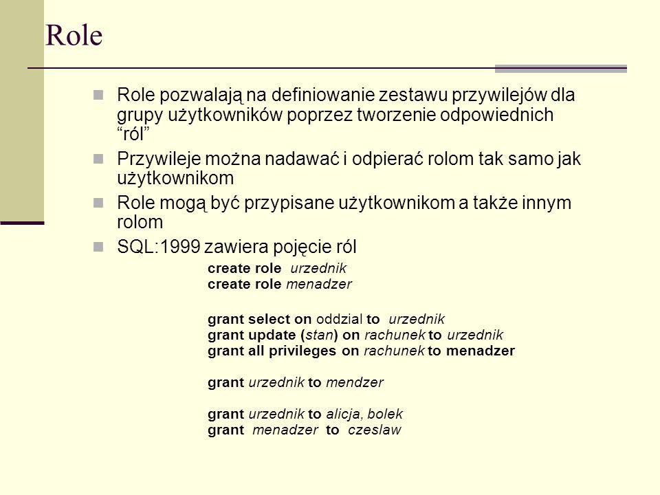 Role Role pozwalają na definiowanie zestawu przywilejów dla grupy użytkowników poprzez tworzenie odpowiednichról Przywileje można nadawać i odpierać r