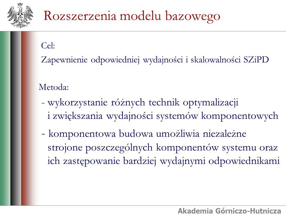 Akademia Górniczo-Hutnicza Rozszerzenia modelu bazowego Cel: Zapewnienie odpowiedniej wydajności i skalowalności SZiPD Metoda: - wykorzystanie różnych