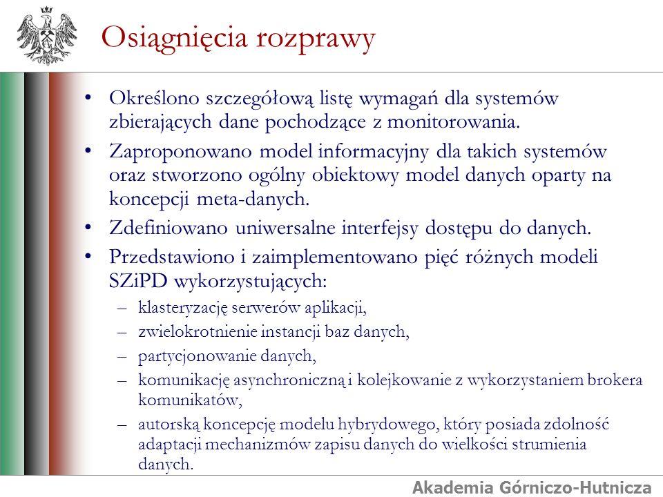 Akademia Górniczo-Hutnicza Osiągnięcia rozprawy Określono szczegółową listę wymagań dla systemów zbierających dane pochodzące z monitorowania. Zapropo