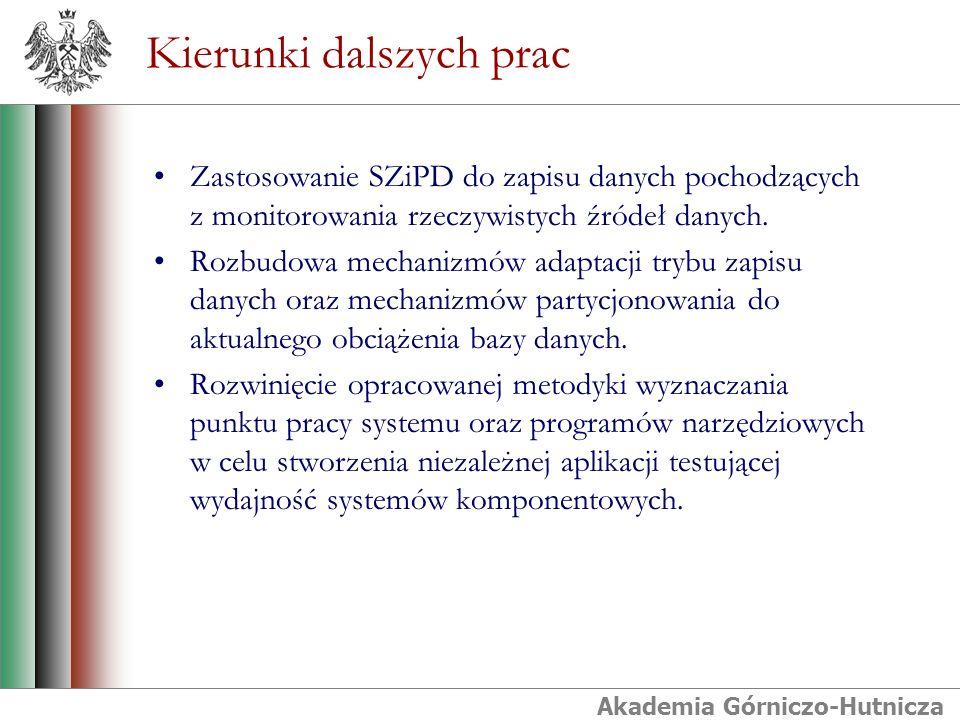 Akademia Górniczo-Hutnicza Kierunki dalszych prac Zastosowanie SZiPD do zapisu danych pochodzących z monitorowania rzeczywistych źródeł danych. Rozbud