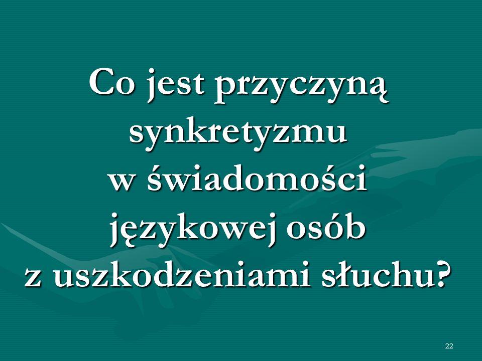22 Co jest przyczyną synkretyzmu w świadomości językowej osób z uszkodzeniami słuchu?