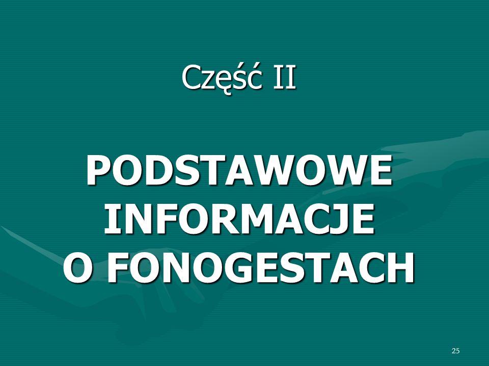 25 Część II PODSTAWOWE INFORMACJE O FONOGESTACH