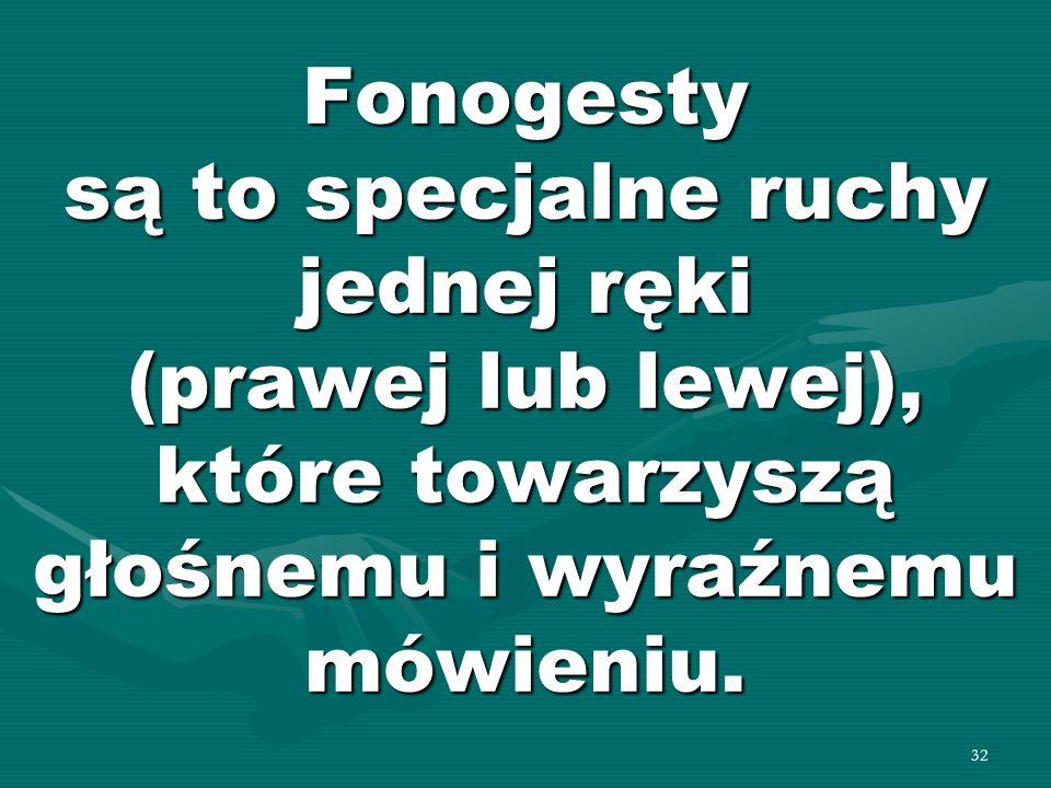 32 Fonogesty są to specjalne ruchy jednej ręki (prawej lub lewej), które towarzyszą głośnemu i wyraźnemu mówieniu.