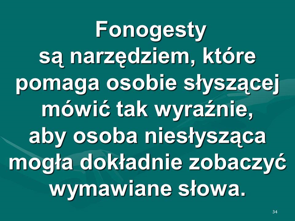 34 Fonogesty są narzędziem, które pomaga osobie słyszącej mówić tak wyraźnie, aby osoba niesłysząca mogła dokładnie zobaczyć wymawiane słowa. Fonogest