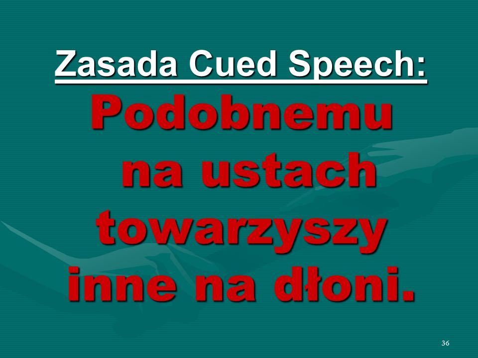 36 Zasada Cued Speech: Podobnemu na ustach towarzyszy inne na dłoni.