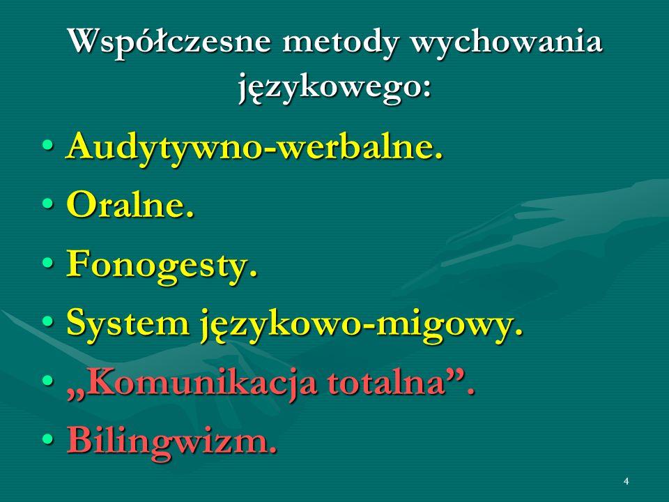 4 Współczesne metody wychowania językowego: Audytywno-werbalne.Audytywno-werbalne. Oralne.Oralne. Fonogesty.Fonogesty. System językowo-migowy.System j