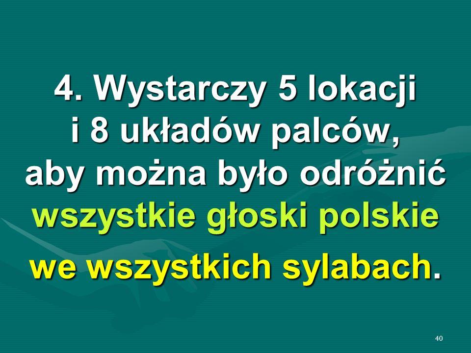 40 4. Wystarczy 5 lokacji i 8 układów palców, aby można było odróżnić wszystkie głoski polskie we wszystkich sylabach.