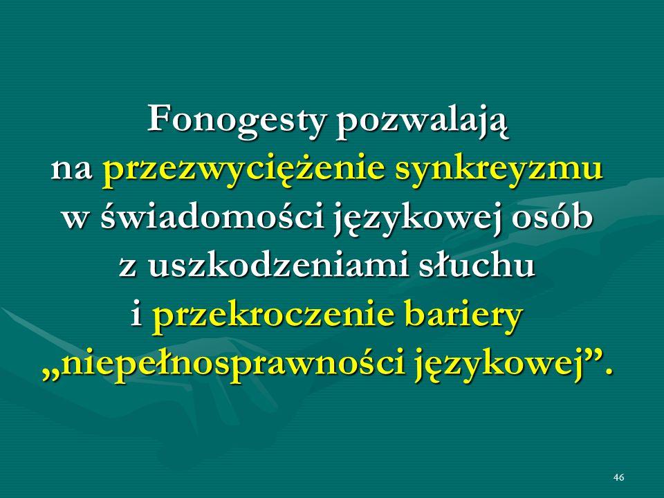 46 Fonogesty pozwalają na przezwyciężenie synkreyzmu w świadomości językowej osób z uszkodzeniami słuchu i przekroczenie bariery niepełnosprawności ję