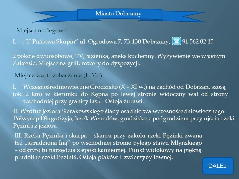 Miasto Dobrzany Miejsca noclegowe: I.U Państwa Skupin ul. Ogrodowa 7, 73-130 Dobrzany, 91 562 02 15 2 pokoje dwuosobowe, TV, łazienka, aneks kuchenny.