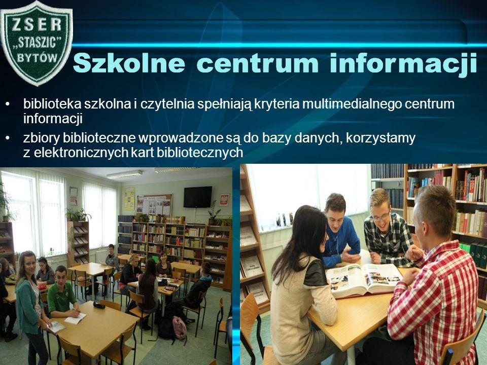 biblioteka szkolna i czytelnia spełniają kryteria multimedialnego centrum informacji zbiory biblioteczne wprowadzone są do bazy danych, korzystamy z e