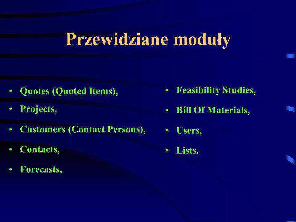Przewidziane moduły Quotes (Quoted Items), Projects, Customers (Contact Persons), Contacts, Forecasts, Feasibility Studies, Bill Of Materials, Users, Lists.
