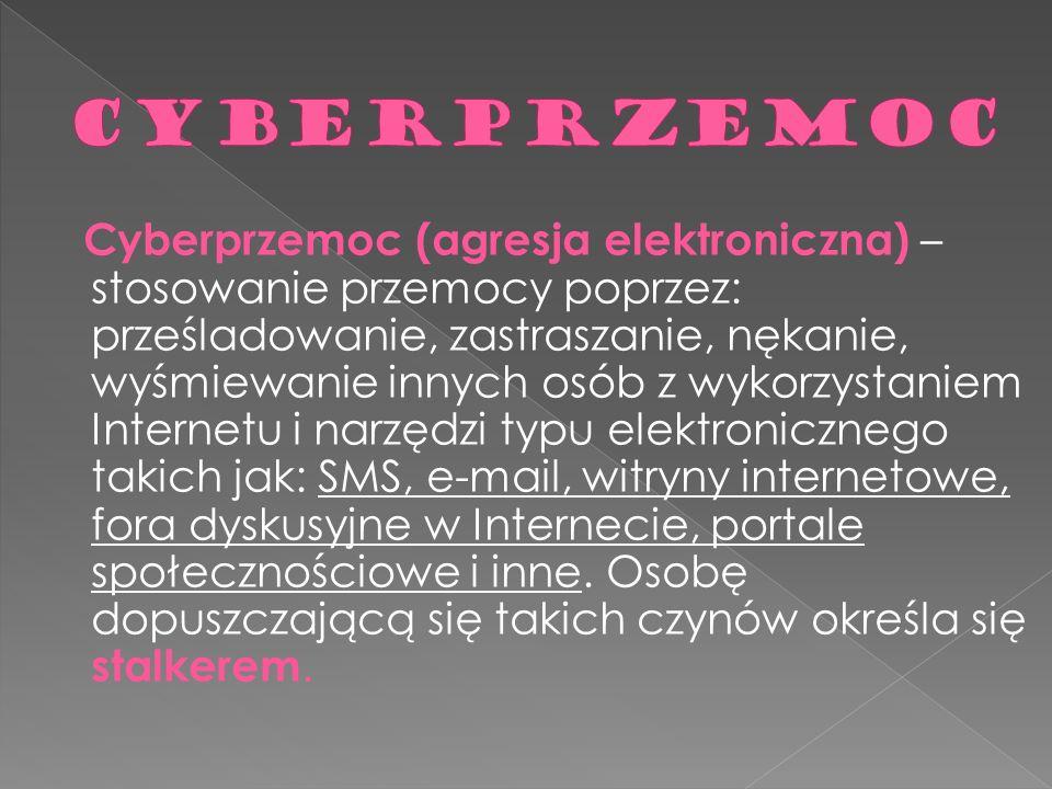 Cyberprzemoc (agresja elektroniczna) – stosowanie przemocy poprzez: prześladowanie, zastraszanie, nękanie, wyśmiewanie innych osób z wykorzystaniem In