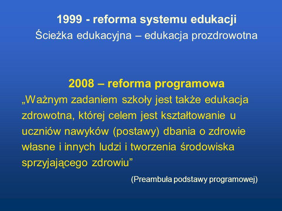 1999 - reforma systemu edukacji Ścieżka edukacyjna – edukacja prozdrowotna 2008 – reforma programowa Ważnym zadaniem szkoły jest także edukacja zdrowotna, której celem jest kształtowanie u uczniów nawyków (postawy) dbania o zdrowie własne i innych ludzi i tworzenia środowiska sprzyjającego zdrowiu (Preambuła podstawy programowej)