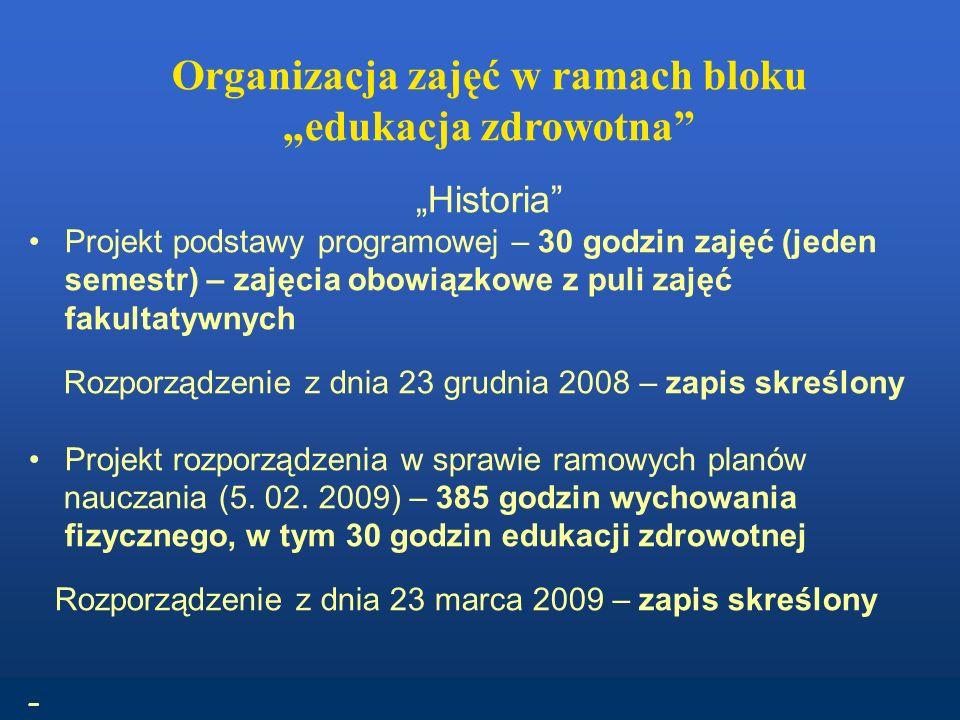 Organizacja zajęć w ramach bloku edukacja zdrowotna Historia Projekt podstawy programowej – 30 godzin zajęć (jeden semestr) – zajęcia obowiązkowe z puli zajęć fakultatywnych Rozporządzenie z dnia 23 grudnia 2008 – zapis skreślony Projekt rozporządzenia w sprawie ramowych planów nauczania (5.