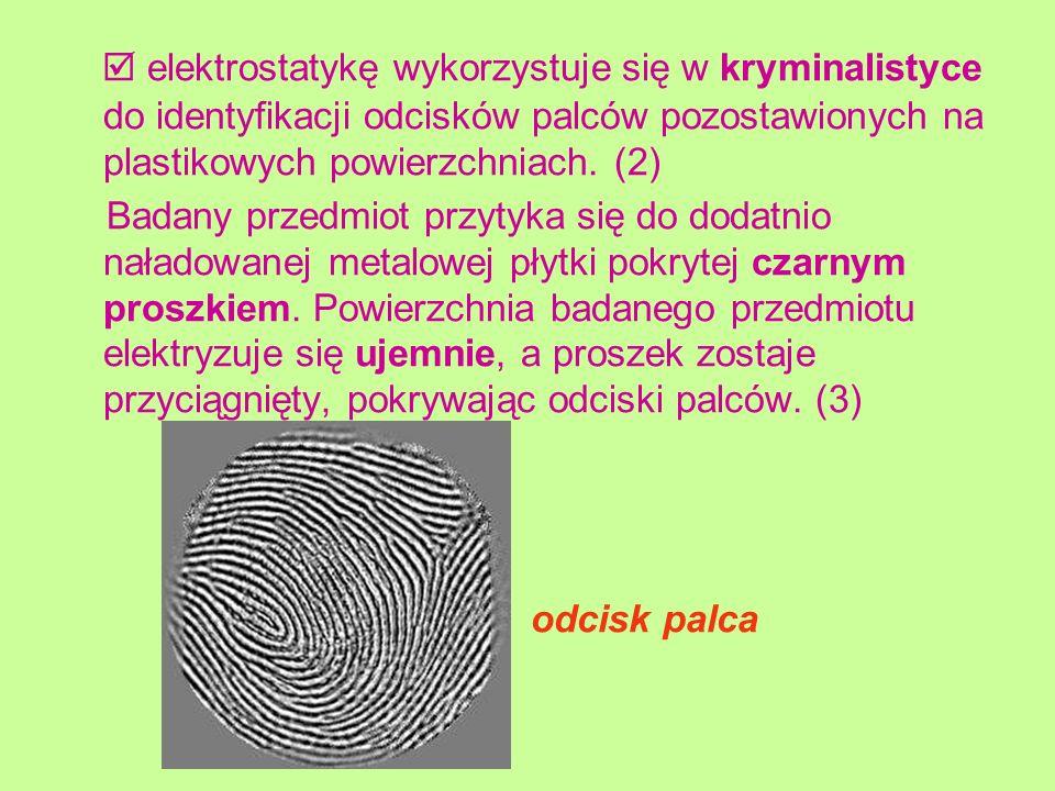 elektrostatykę wykorzystuje się w kryminalistyce do identyfikacji odcisków palców pozostawionych na plastikowych powierzchniach. (2) Badany przedmiot