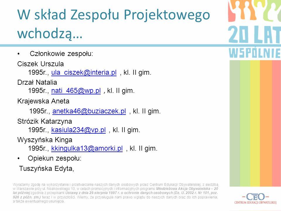 Członkowie zespołu: Ciszek Urszula 1995r., ula_ciszek@interia.pl, kl. II gim.ula_ciszek@interia.pl Drzał Natalia 1995r., nati_465@wp.pl, kl. II gim.na