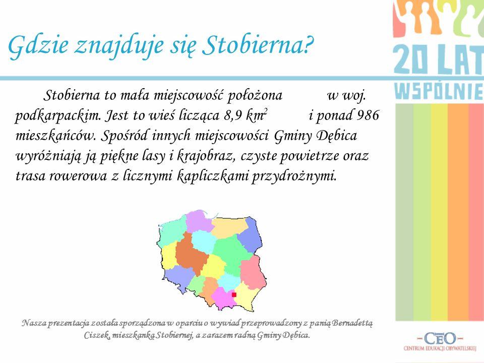 Stobierna to mała miejscowość położona w woj. podkarpackim. Jest to wieś licząca 8,9 km 2 i ponad 986 mieszkańców. Spośród innych miejscowości Gminy D