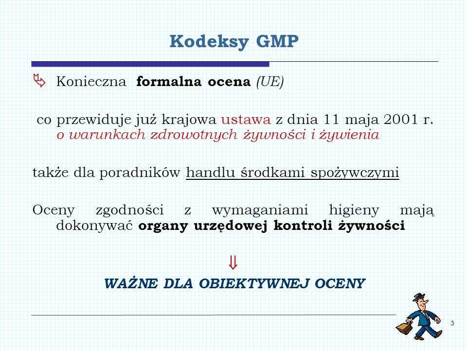 3 Kodeksy GMP Konieczna formalna ocena (UE) co przewiduje już krajowa ustawa z dnia 11 maja 2001 r. o warunkach zdrowotnych żywności i żywienia także