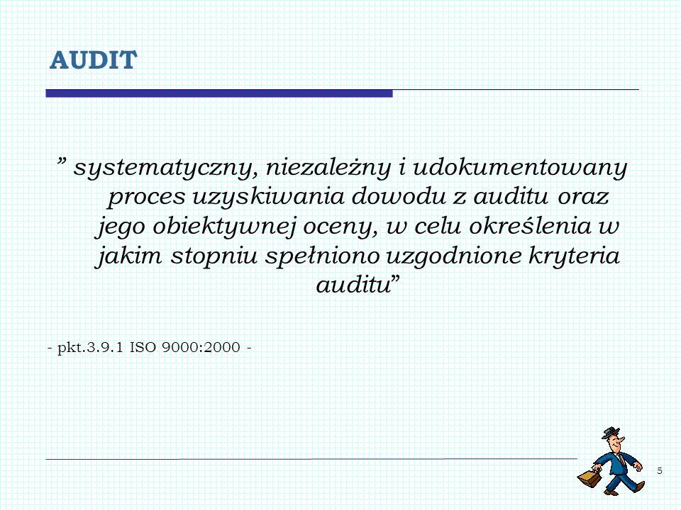5 AUDIT systematyczny, niezależny i udokumentowany proces uzyskiwania dowodu z auditu oraz jego obiektywnej oceny, w celu określenia w jakim stopniu s