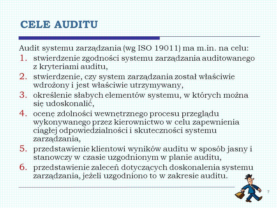 7 CELE AUDITU Audit systemu zarządzania (wg ISO 19011) ma m.in. na celu: 1. stwierdzenie zgodności systemu zarządzania auditowanego z kryteriami audit