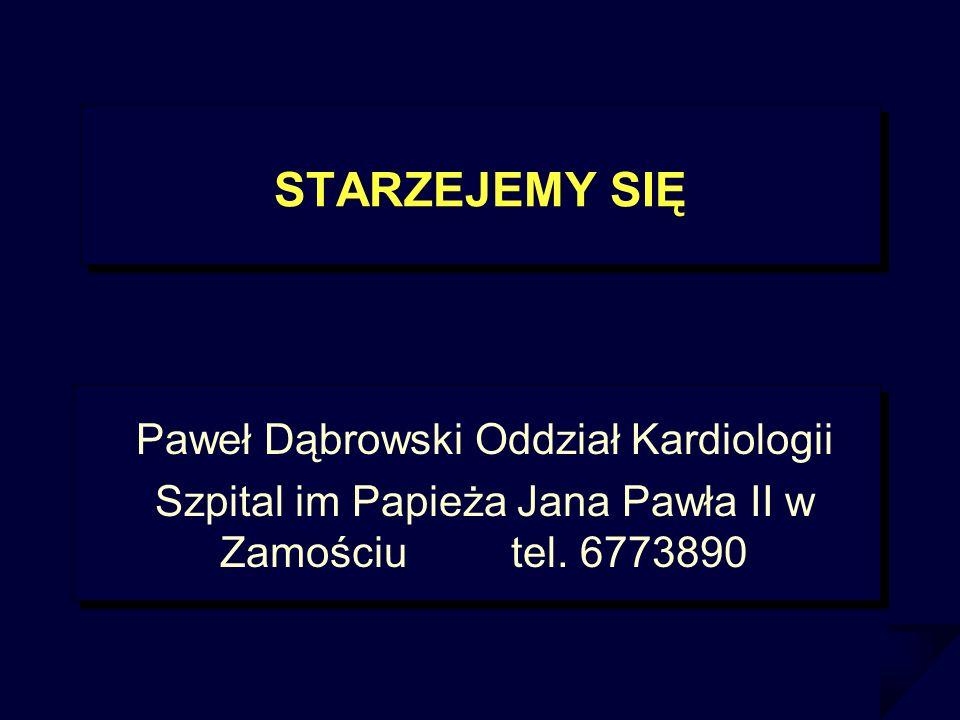 STARZEJEMY SIĘ Paweł Dąbrowski Oddział Kardiologii Szpital im Papieża Jana Pawła II w Zamościu tel. 6773890