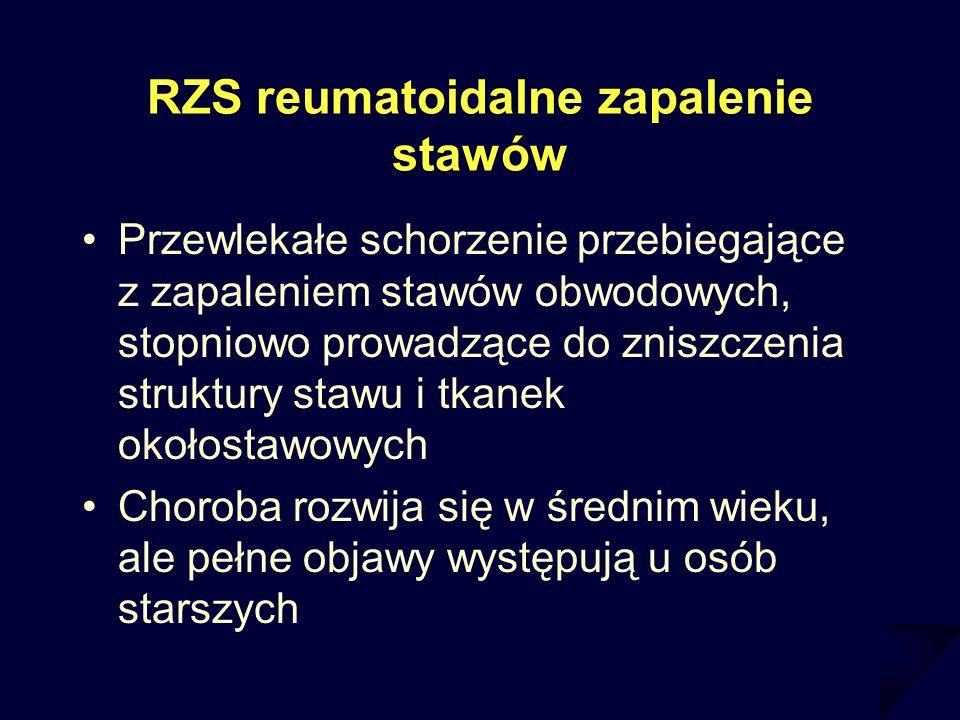 RZS reumatoidalne zapalenie stawów Przewlekałe schorzenie przebiegające z zapaleniem stawów obwodowych, stopniowo prowadzące do zniszczenia struktury
