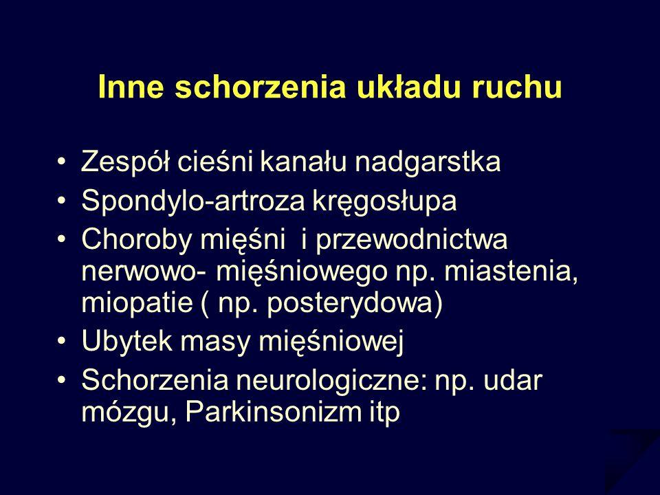 Inne schorzenia układu ruchu Zespół cieśni kanału nadgarstka Spondylo-artroza kręgosłupa Choroby mięśni i przewodnictwa nerwowo- mięśniowego np. miast