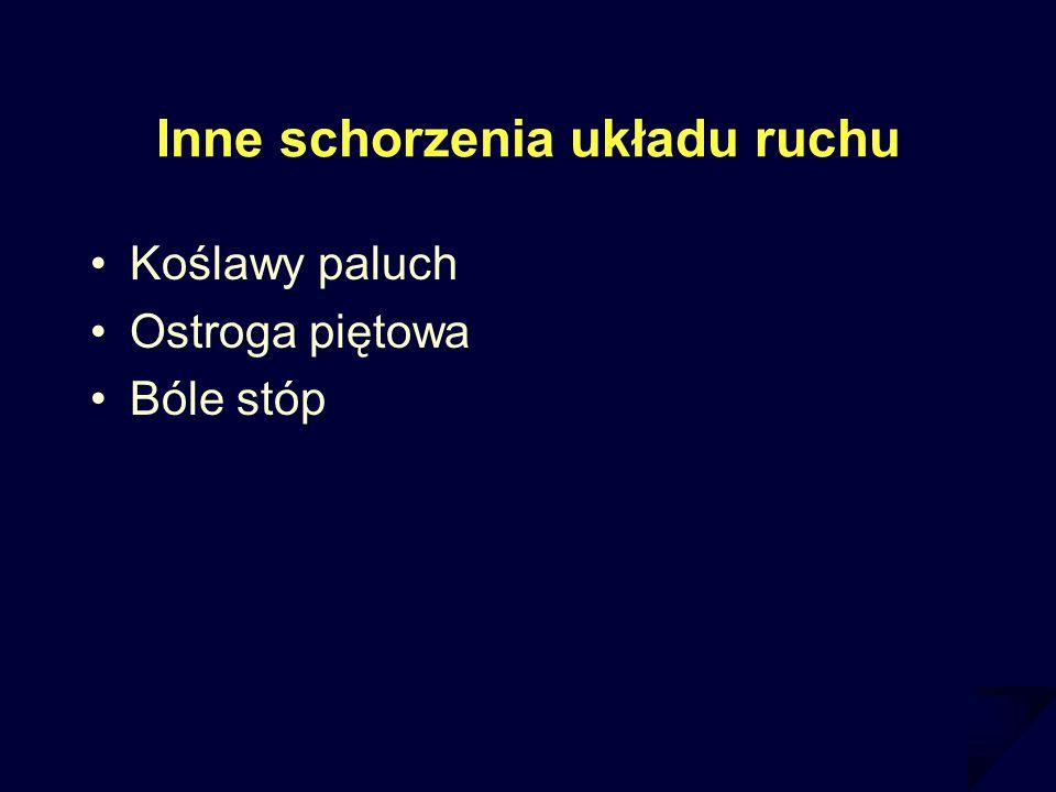 Inne schorzenia układu ruchu Koślawy paluch Ostroga piętowa Bóle stóp