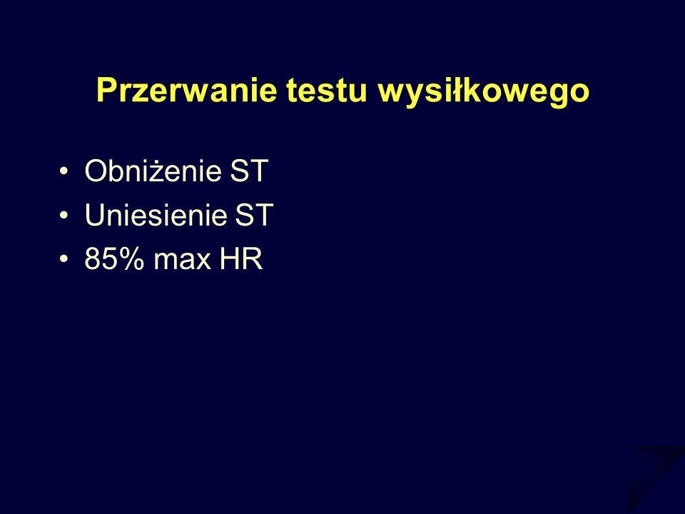 Przerwanie testu wysiłkowego Obniżenie ST Uniesienie ST 85% max HR