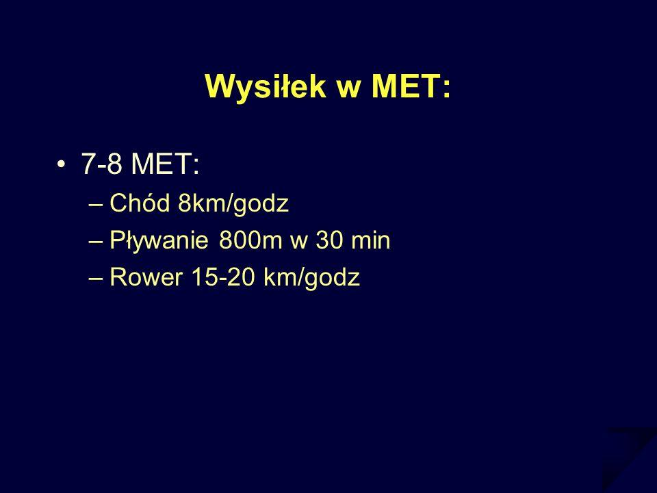 Wysiłek w MET: 7-8 MET: –Chód 8km/godz –Pływanie 800m w 30 min –Rower 15-20 km/godz