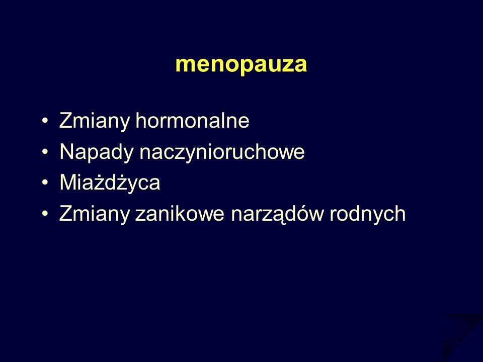 menopauza Zmiany hormonalne Napady naczynioruchowe Miażdżyca Zmiany zanikowe narządów rodnych