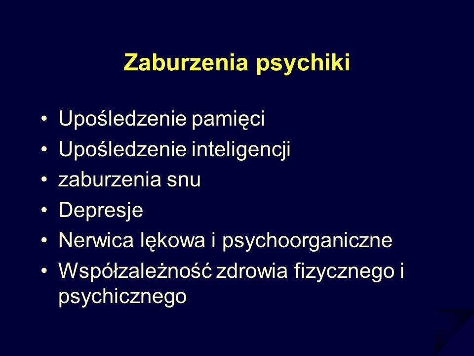 Zaburzenia psychiki Upośledzenie pamięci Upośledzenie inteligencji zaburzenia snu Depresje Nerwica lękowa i psychoorganiczne Współzależność zdrowia fi