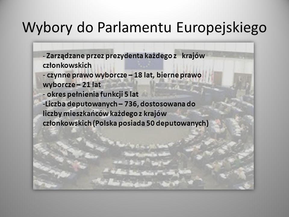 Wybory do Parlamentu Europejskiego - Zarządzane przez prezydenta każdego z krajów członkowskich - czynne prawo wyborcze – 18 lat, bierne prawo wyborcz