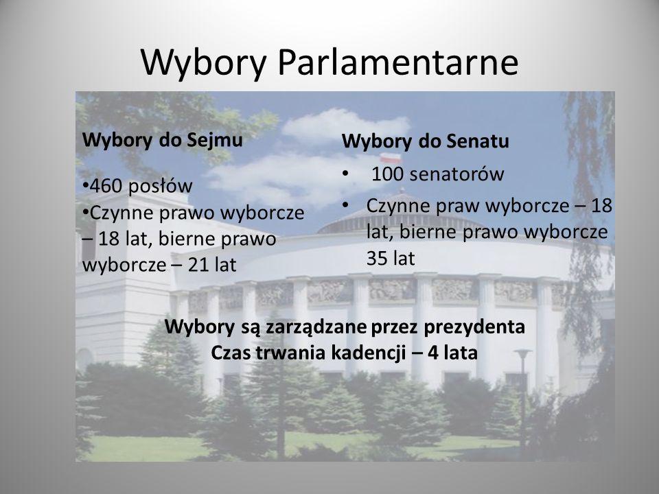 Wybory Parlamentarne Wybory do Senatu 100 senatorów Czynne praw wyborcze – 18 lat, bierne prawo wyborcze 35 lat Wybory do Sejmu 460 posłów Czynne praw