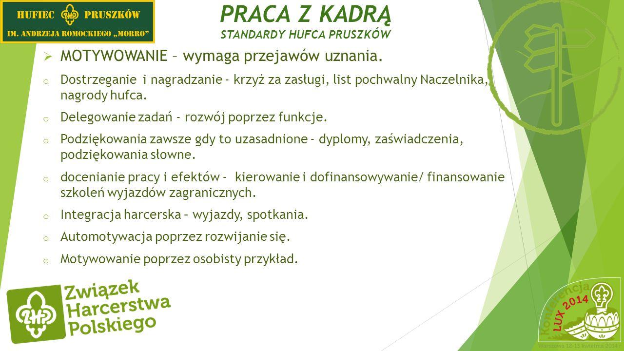 PRACA Z KADRĄ STANDARDY i DOŚWIADCZENIA HUFCA PRUSZKÓW NASZE EFEKTY PRACY Z KADRĄ (WIOSNA 2014).