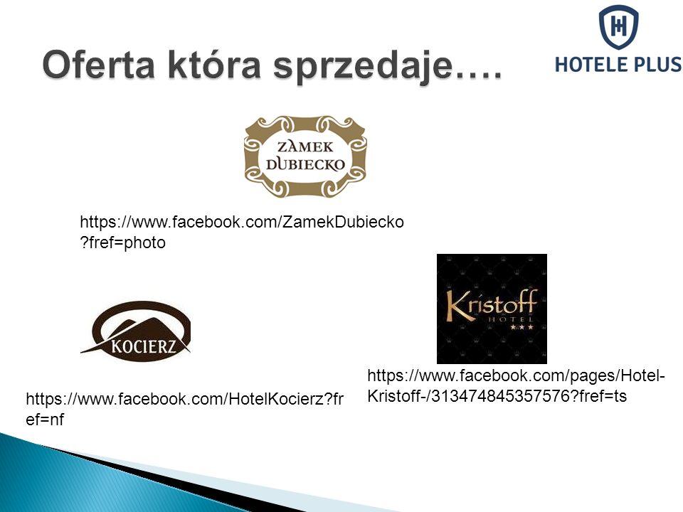 https://www.facebook.com/ZamekDubiecko ?fref=photo https://www.facebook.com/HotelKocierz?fr ef=nf https://www.facebook.com/pages/Hotel- Kristoff-/3134