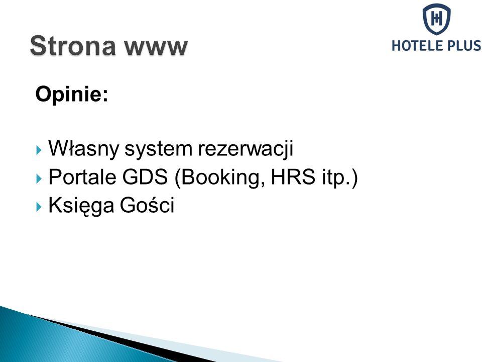 Opinie: Własny system rezerwacji Portale GDS (Booking, HRS itp.) Księga Gości