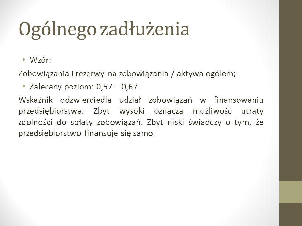 Ogólnego zadłużenia Wzór: Zobowiązania i rezerwy na zobowiązania / aktywa ogółem; Zalecany poziom: 0,57 – 0,67. Wskaźnik odzwierciedla udział zobowiąz