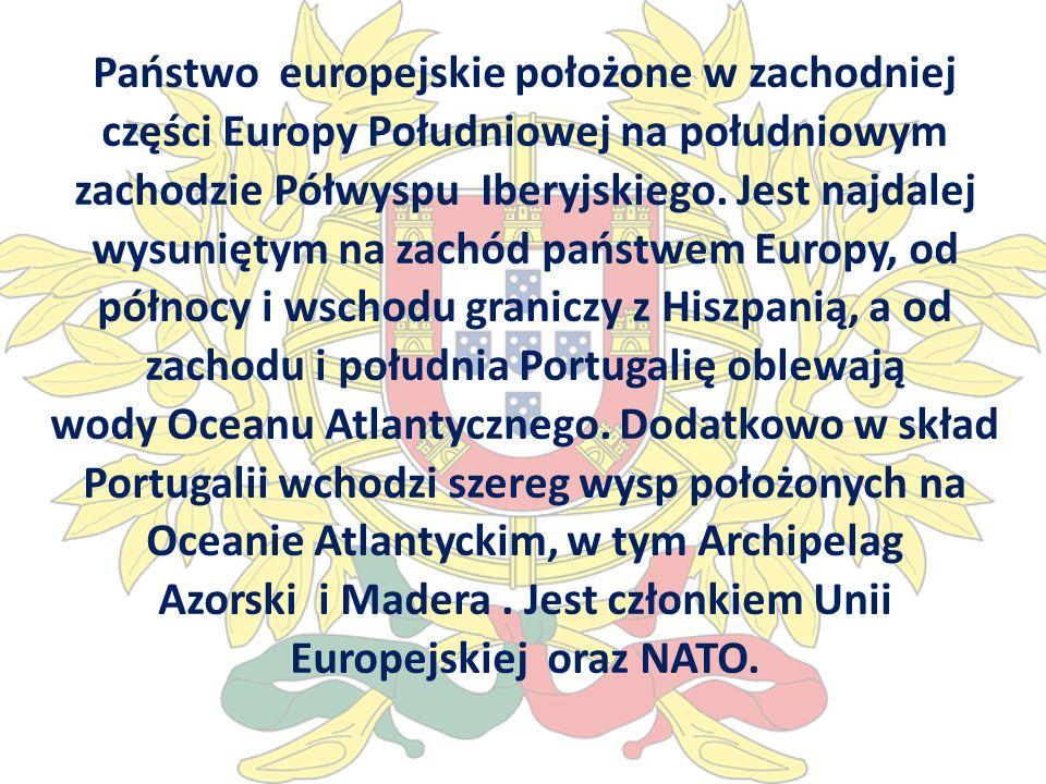 Państwo europejskie położone w zachodniej części Europy Południowej na południowym zachodzie Półwyspu Iberyjskiego. Jest najdalej wysuniętym na zachód