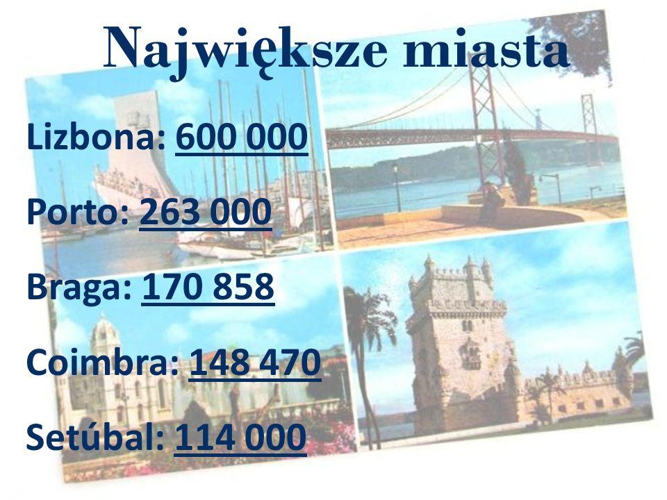 Najwi ę ksze miasta Lizbona: 600 000 Porto: 263 000 Braga: 170 858 Coimbra: 148 470 Setúbal: 114 000