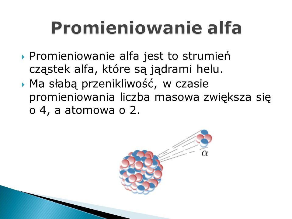 Promieniowanie alfa jest to strumień cząstek alfa, które są jądrami helu. Ma słabą przenikliwość, w czasie promieniowania liczba masowa zwiększa się o