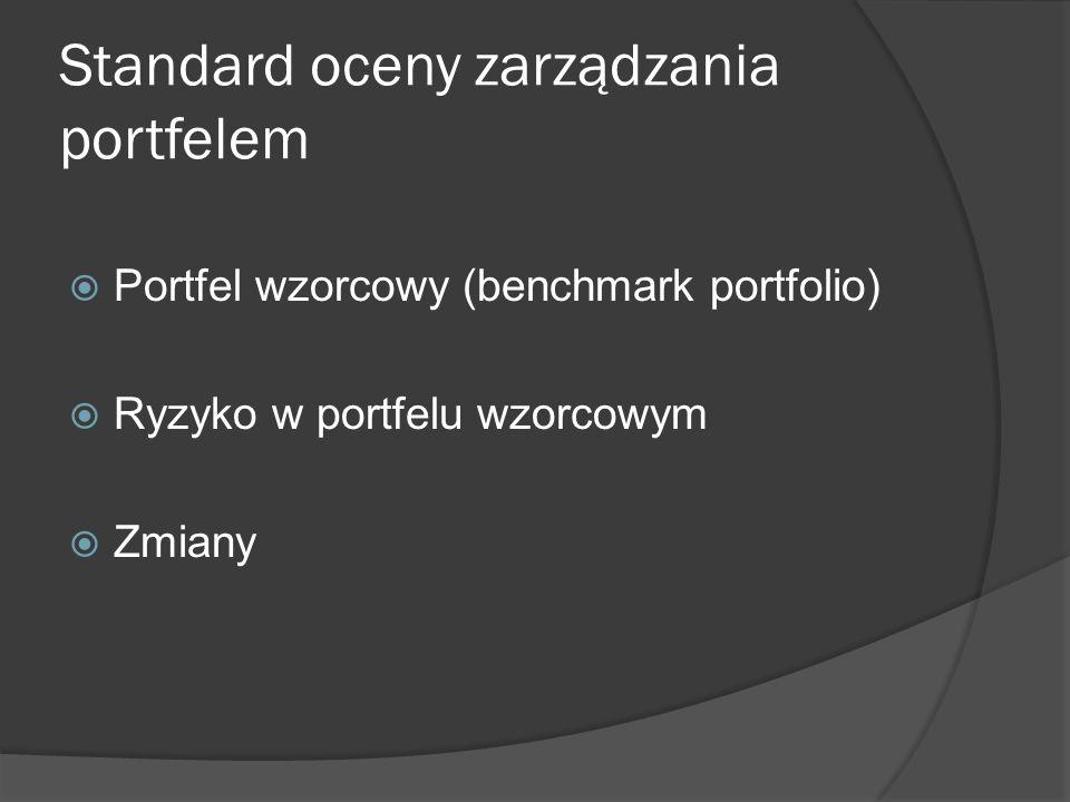 Standard oceny zarządzania portfelem Portfel wzorcowy (benchmark portfolio) Ryzyko w portfelu wzorcowym Zmiany