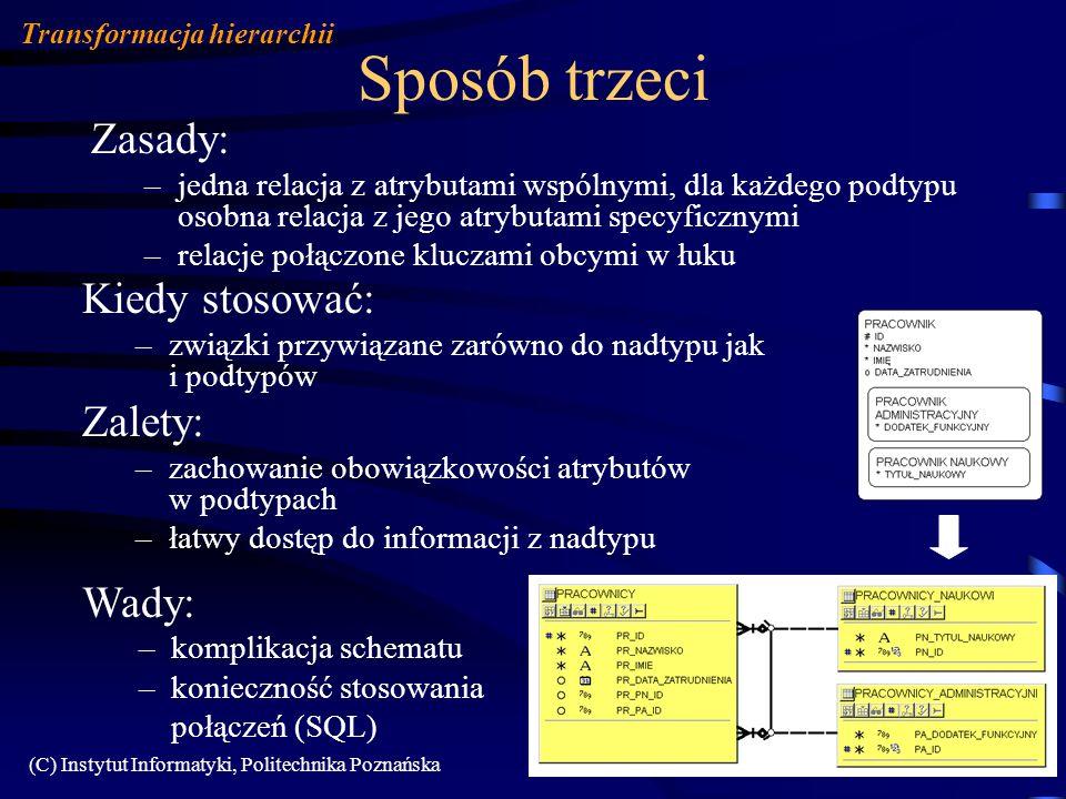 (C) Instytut Informatyki, Politechnika Poznańska107 Sposób trzeci Kiedy stosować: –związki przywiązane zarówno do nadtypu jak i podtypów Zalety: –zach
